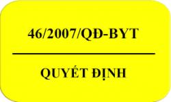 QUYẾT ĐỊNH 46/2007/QĐ-BYT Quy định giới hạn tối đa ô nhiễm sinh học và hóa học trong thực phẩm